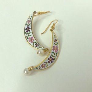 Vintage Enamel Floral Gold Tone Crescent Earrings